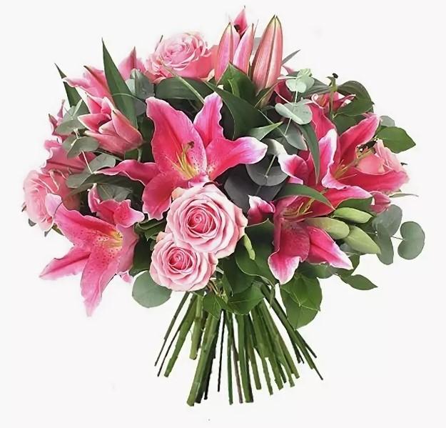 Букет из 125 роз и лилий фото, доставка цветов питер